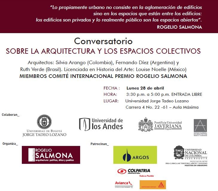 Invitación 28 Abril- CONVERSATORIO: Sobre la Arquitectura y los Espacios Colectivos